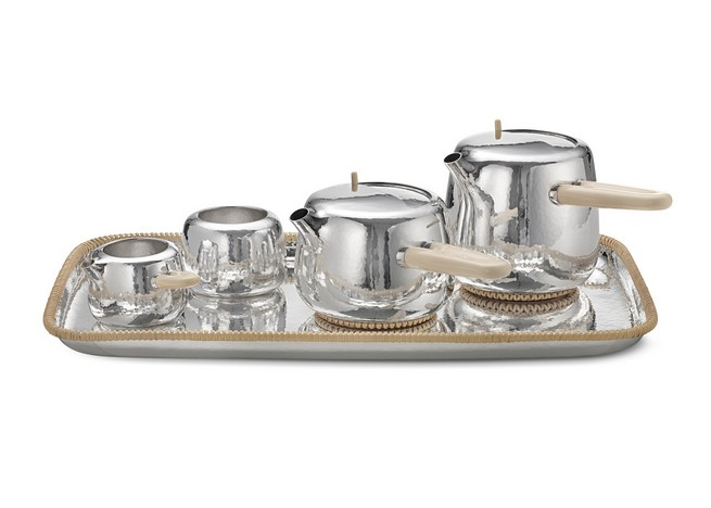 Marc Newson Designs Silver Tea Set Made With Mammoth-Ivory Handles   Marc Newson Designs Silver Tea Set Made With Mammoth-Ivory Handles Marc Newson tea set Georg Jensen dezeen 1568 0