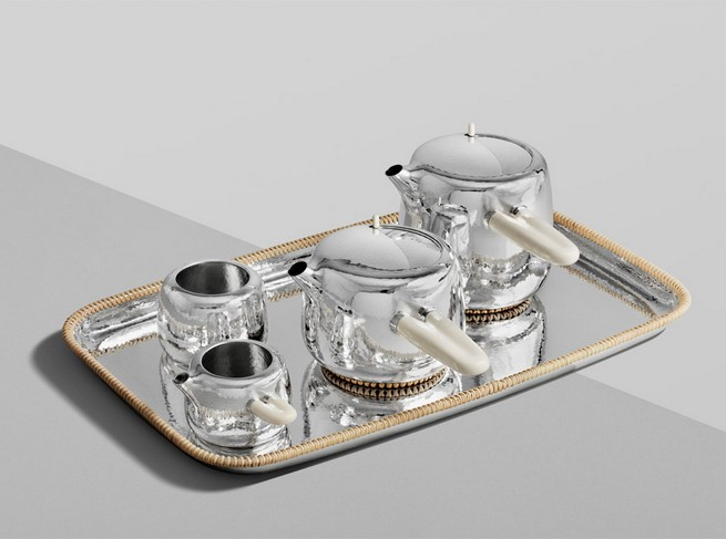 Marc Newson Designs Silver Tea Set Made With Mammoth-Ivory Handles   Marc Newson Designs Silver Tea Set Made With Mammoth-Ivory Handles Marc Newson tea set Georg Jensen dezeen 936 14