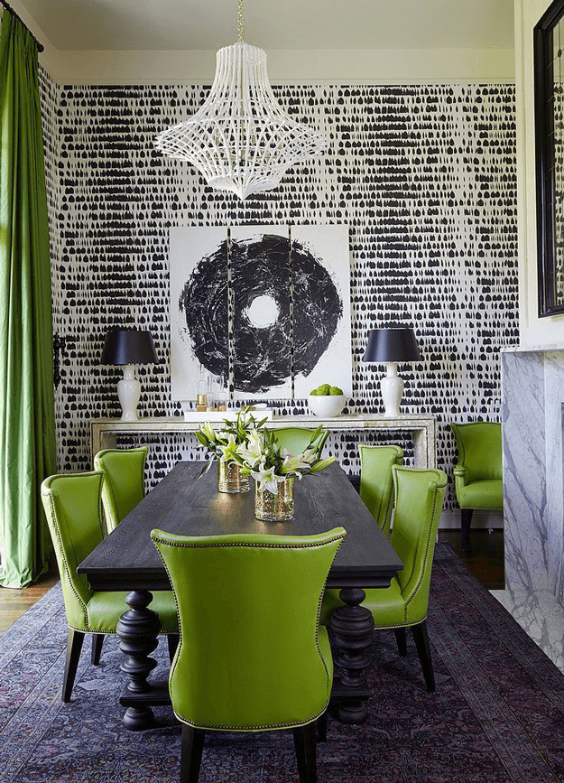 greenery Greenery: Pantone Color Of the Year 2017 dining room with lime green chairs black white wallpaper pantone greenery
