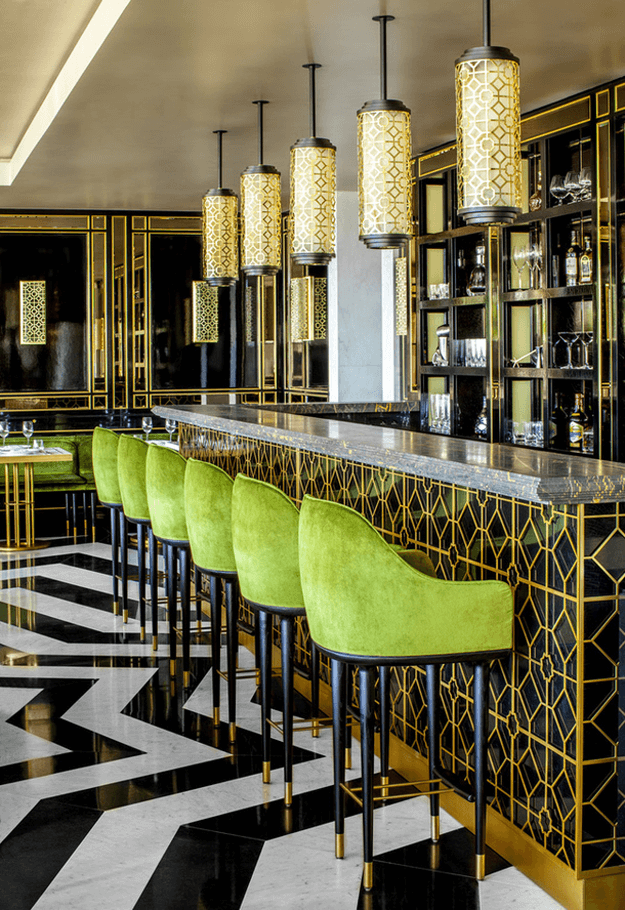 eenery greenery Greenery: Pantone Color Of the Year 2017 restaurant interior with gold and bright green accents pantone greenery