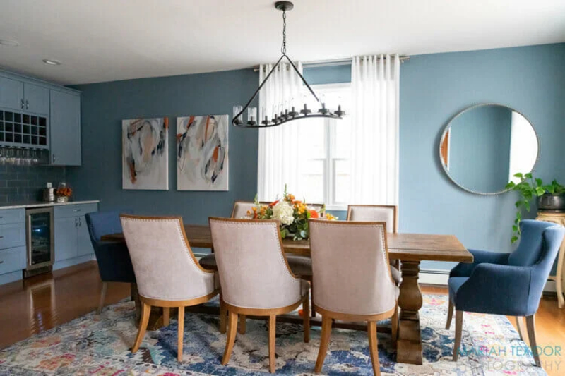 Design Hubs Of The World - 20 Top Interior Designers From New Jersey top interior designer Design Hubs Of The World – 20 Top Interior Designers From New Jersey Slate blue dining room design by top New Jersey interior designer Amanda Amato