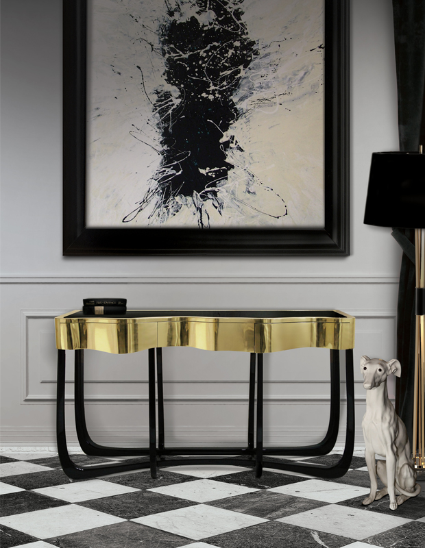 5 Pieces With Art console table 5 Console Tables With Golden Details Sinous Console
