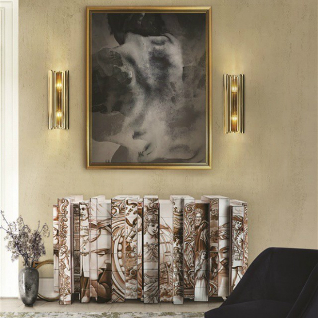 Design Influenced by Portuguese Tiles  Design Influenced by Portuguese Tiles heritage sepia sideboard