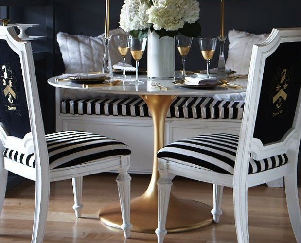 Gold leaf and Marble Finish luxury dining tables 20 Luxury Dining Tables for the Modern Dining Room Saarinen tulip table gold leaf e1448378203373
