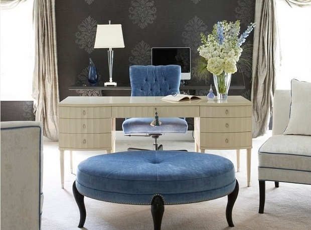 modern fabric 20 Modern Fabric for Exclusive Luxury Furniture an awesome grey satin curtain for luxurious office room and charming blue swivel chair with white wooden desk also pretty pendant lamp1