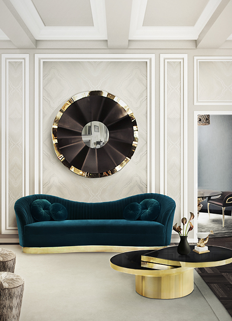 modern living room 20 Luxury Sofas For The Modern Living Room kelly sofa reve mirror tears cocktail table tresor stool koket projects