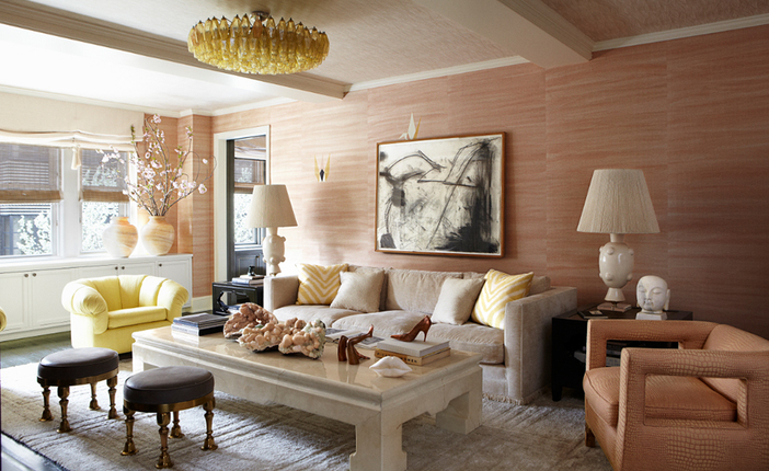 Pale pink furniture Pale Room Decor Pale Room Decor by Kelly Wearstler cameron diaz flat pale living room1
