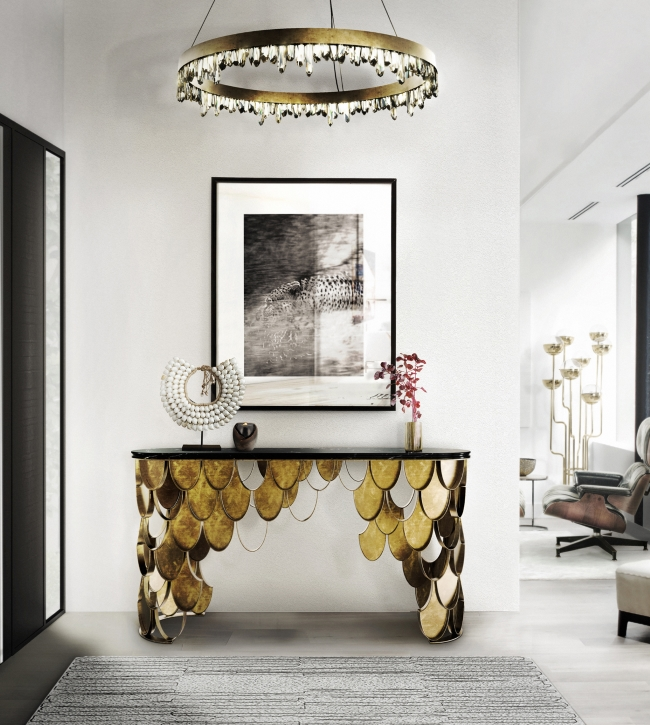 Console Table Designs Inspired by Nature 10 Incredible Console Table Designs Inspired by Nature koi brass console table contemporary design by brabbu 4 detail
