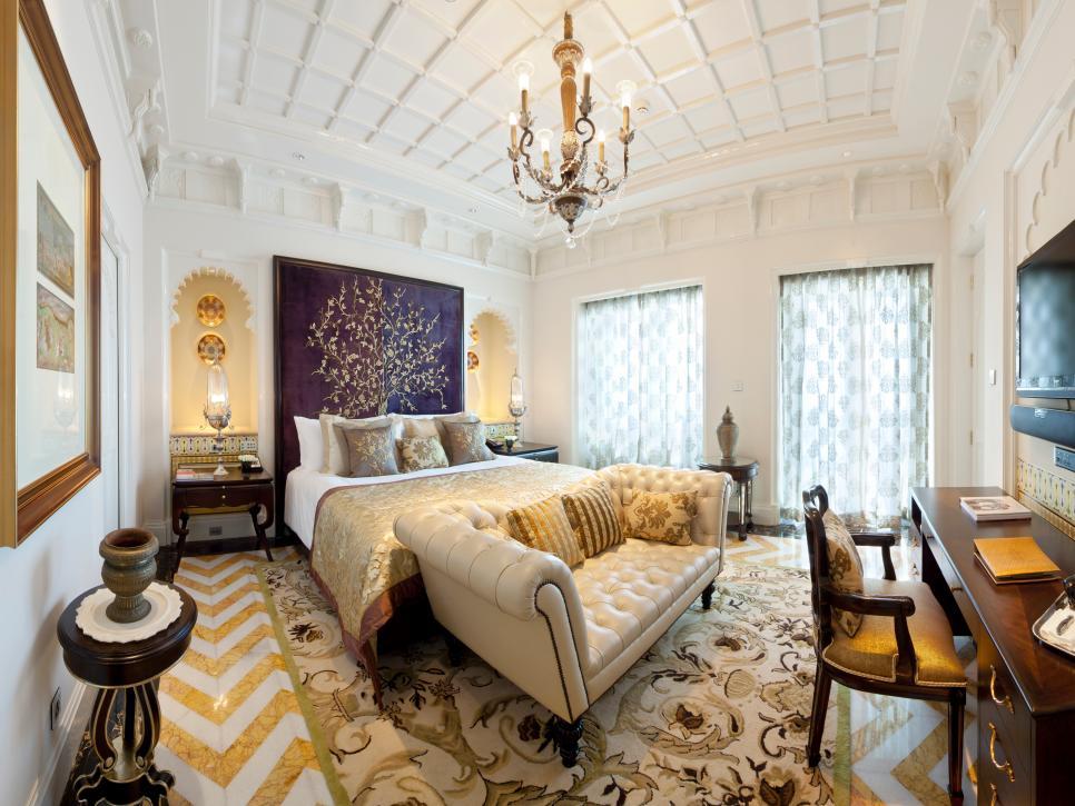 luxurious bedrooms World's Most Luxurious Bedrooms CI Taj Rajput Suite bedroom chandelier pattern white s4x3