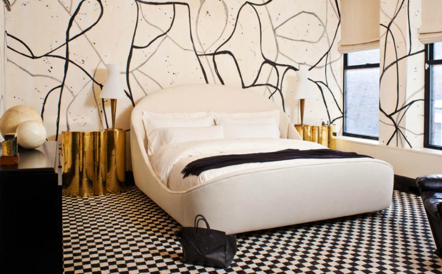 master bedroom Discover the Trendiest Master Bedroom Designs in 2017 Golden nightstand bedroom trends 2017 kelly wearstler bedroom inspiration design1