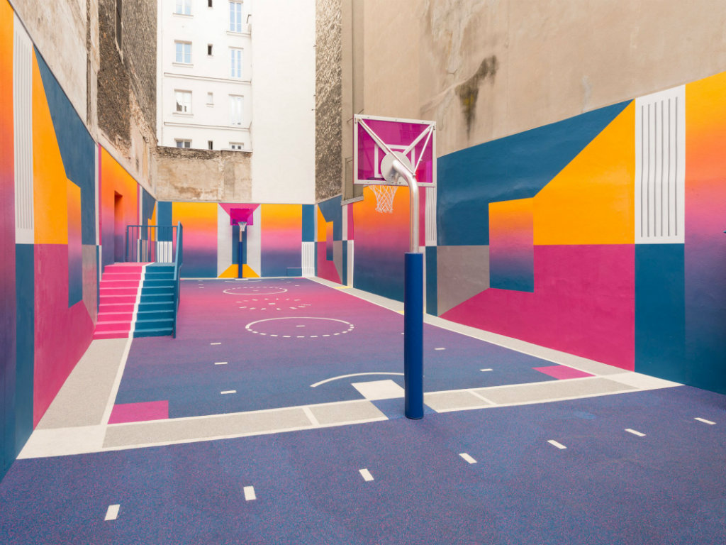 colorful Colorful Paris Basketball Court refreshed with Bold Hues by ILL-Studio cover 2