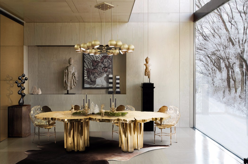 contemporary interior design Gilded Furniture Pieces for Contemporary Interior Design boca do lobo fortuna press covers christmas