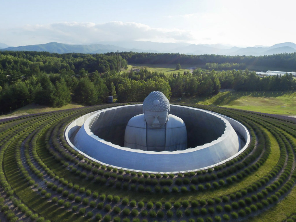architect Architect Tadao Ando Enfolds Giant Buddha Statue in Lavender Landscape cover1