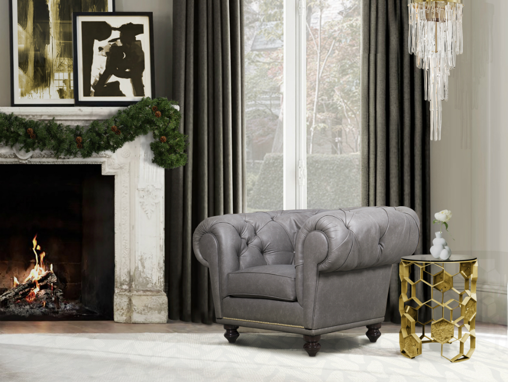 christmas decoration ideas Christmas Decoration Ideas: An Edgy Look for Golden Celebrations christmas decor ideas chesterfield armchair