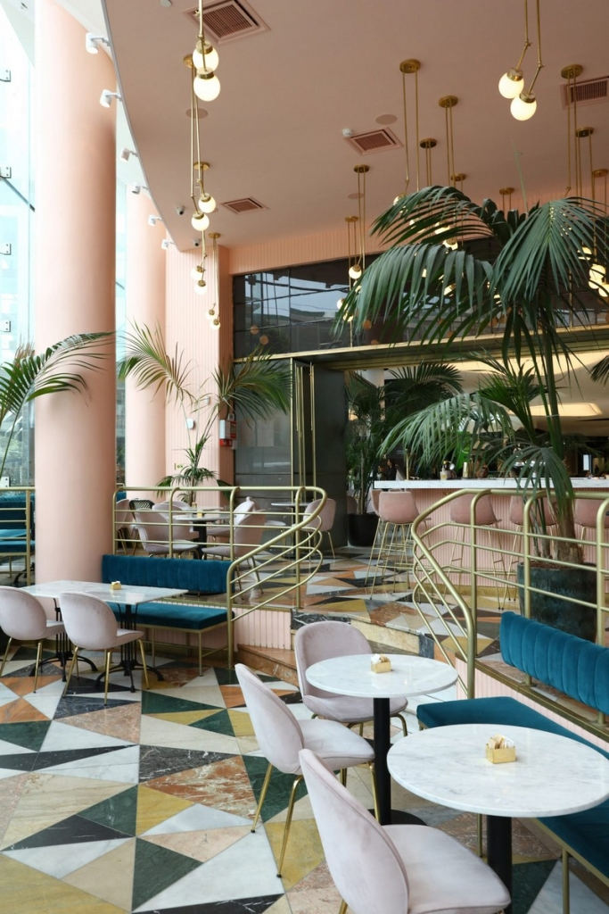interior design Pink and Marble Enliven this Restaurant Interior Design in Tel Aviv pink restaurant inspiration 7 683x1024
