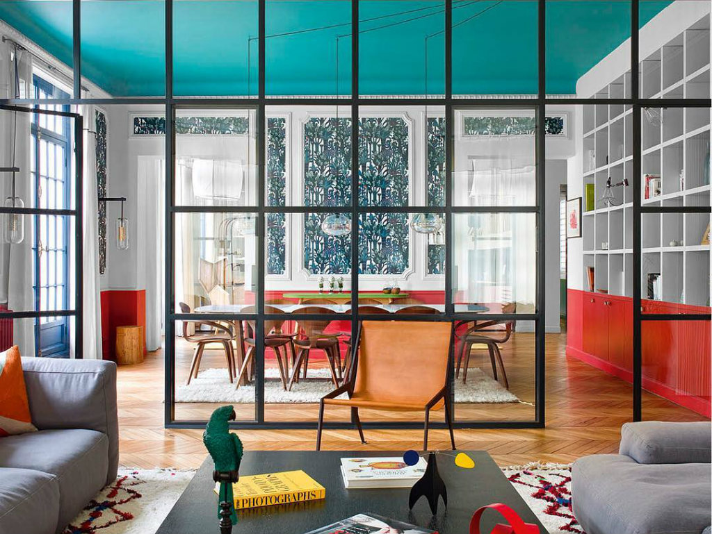 Modern apartment in paris with colorful interior design project