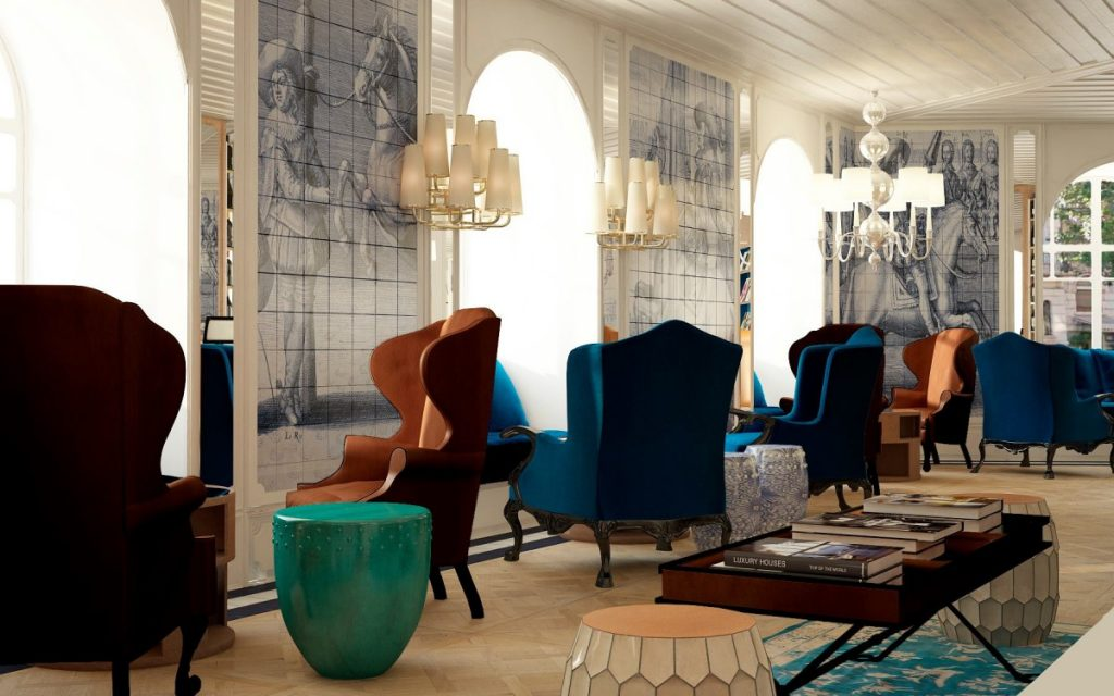 Hand-Painted Tiles Covered The Walls of the Luxury Hotel in Lisbon