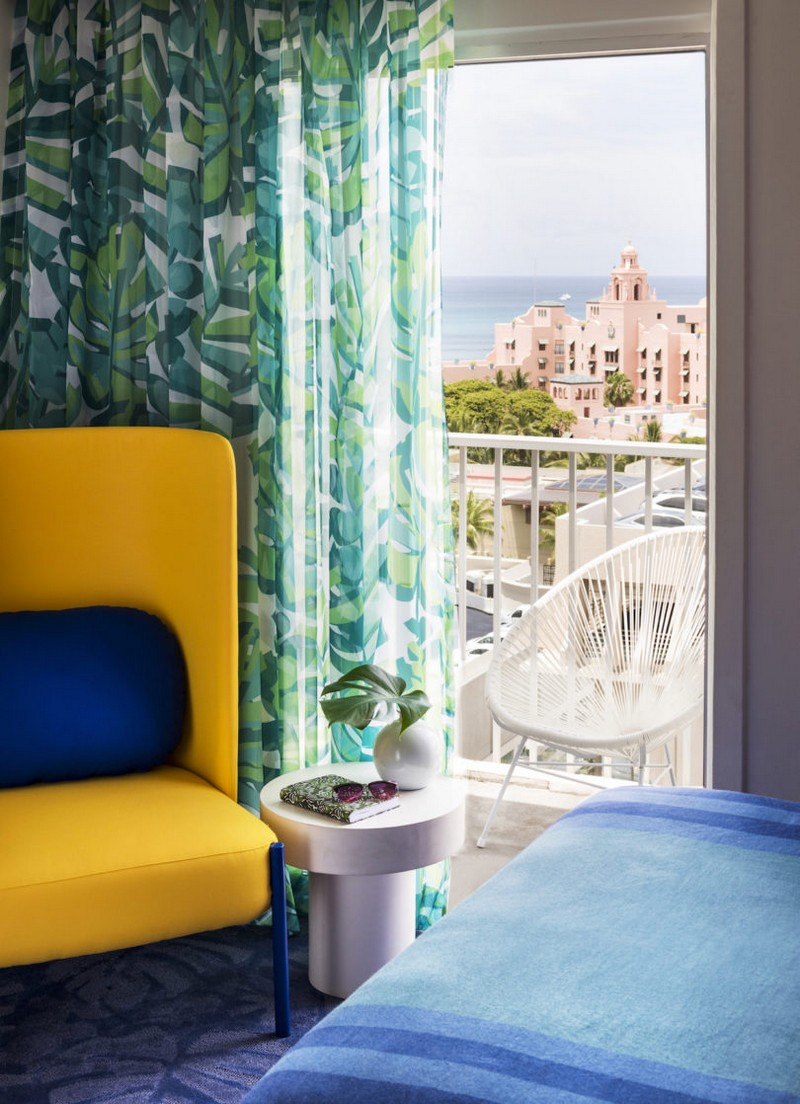 modern hotel A Tropical Explosion of Color in this Hawaiian-Inspired Modern Hotel hawai hotel inspirations 2