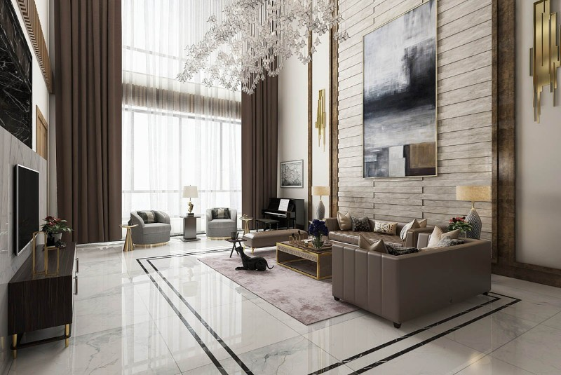 Luxury Home Luxury Home with an Asian Interior Design oversized art wall