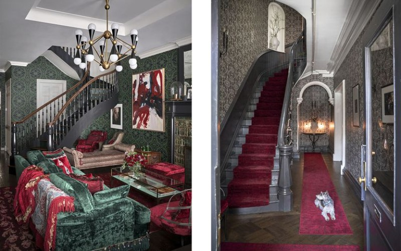 interior design interior design An Elegantly Theatrical New York City Interior Design green and stairs 1537453751