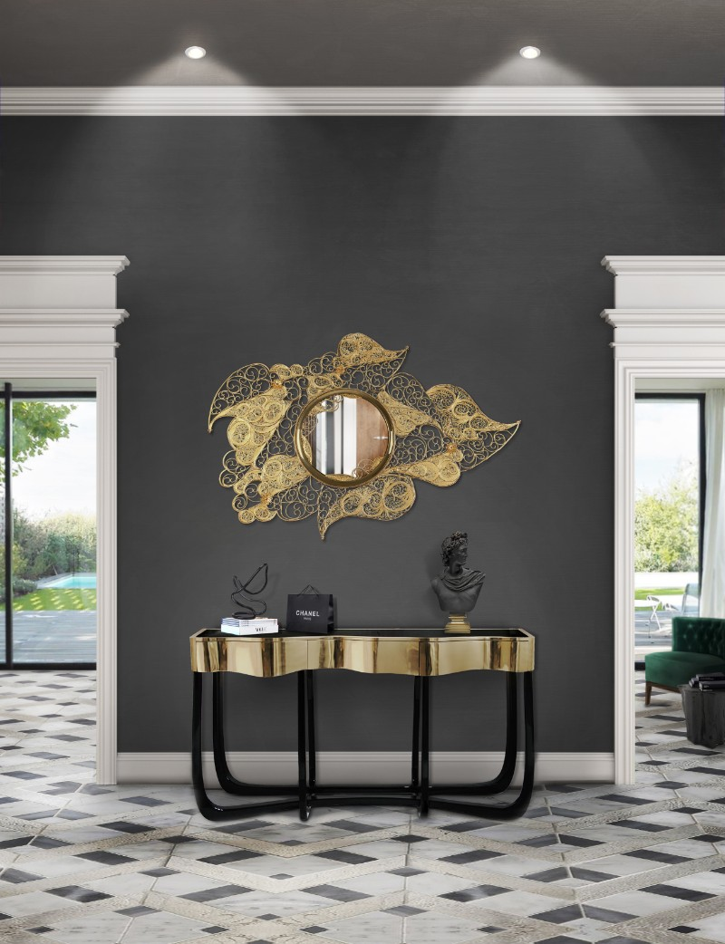 gold furniture gold furniture Trending Now: The Best Gold Furniture For Your Luxury Interior Design filigree mirror hr 01