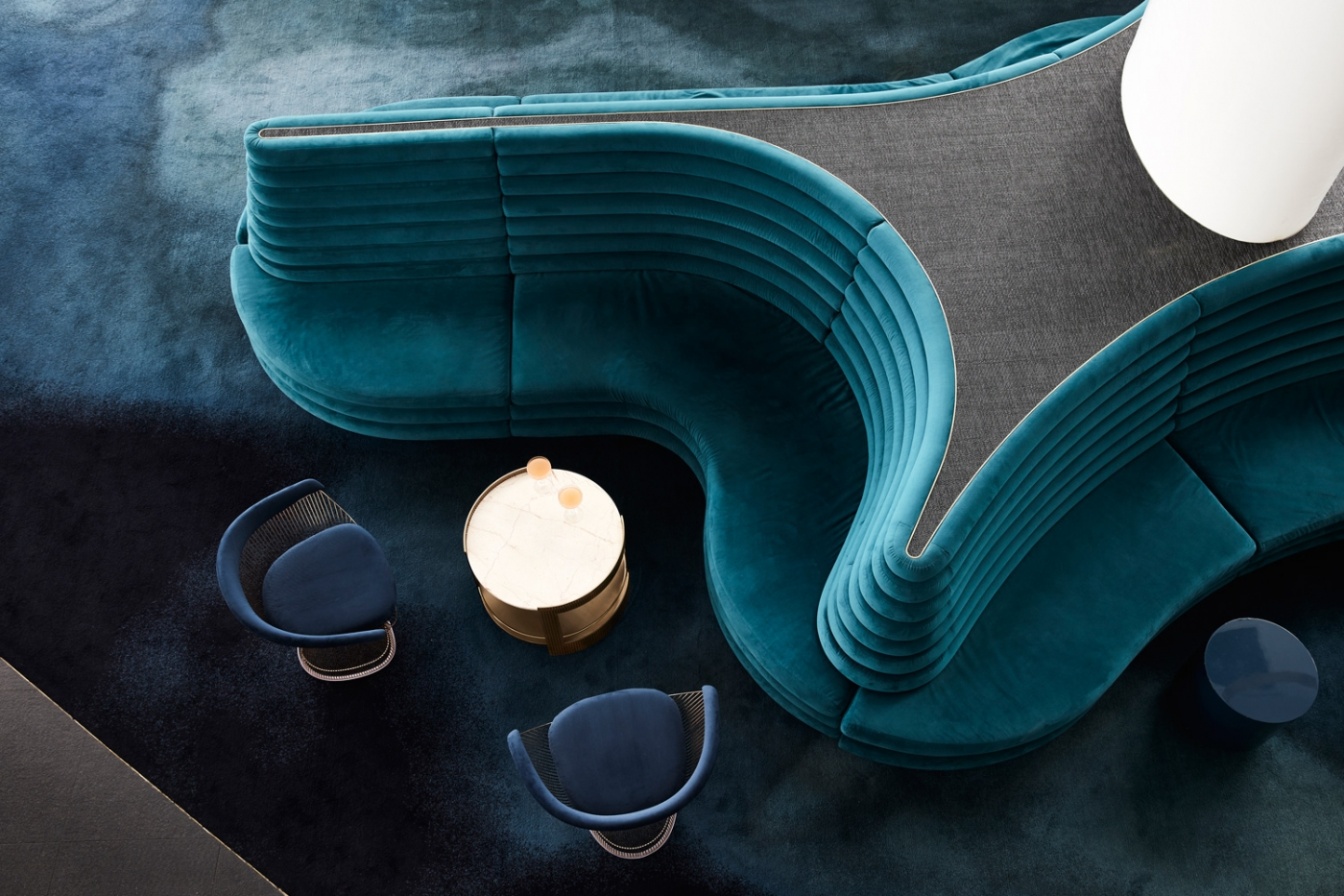 mim design A Blue and Gold Aesthetic: The New Rooftop Restaurant by Mim Design feature 1400x933