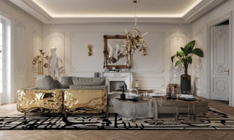 Get The Look Of Parisian Penthouse's Living Room Design ft