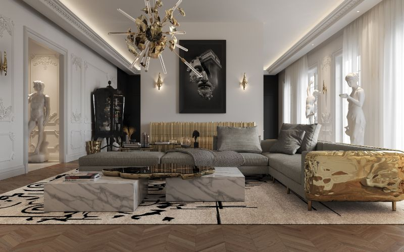 Get The Look Of Parisian Penthouse's Living Room Design living room design Get The Look Of Parisian Penthouse's Living Room Design living room 1