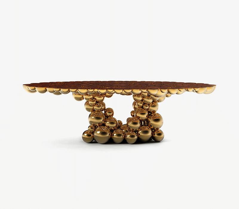 6 Luxury Furniture Pieces Perfect For Dubai's Lifestyle luxury furniture 6 Luxury Furniture Pieces Perfect For Dubai's Lifestyle newton gold myrtle dining table 01 boca do lobo