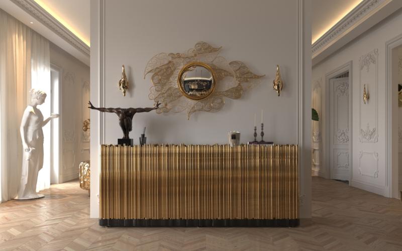 Exquisite Entryway Interior Design Pieces For Dubai's Lifestyle تصميم داخلي في دبي   gold entryway decor 1