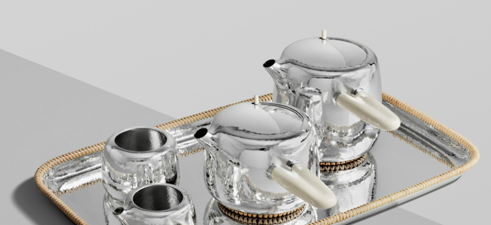 Marc Newson Designs Silver Tea Set Made With Mammoth-Ivory Handles Marc Newson tea set Georg Jensen dezeen sq