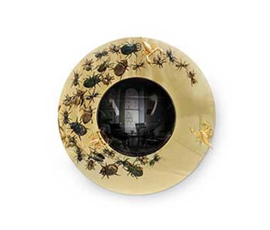 Contemporary Convex Metamorphosis Mirror Console by Boca do Lobo