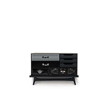 Exquisite Mondrian Black Bedside Table by Boca do Lobo