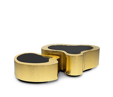 Striking Wave Hammered Brass Center Table by Boca do Lobo
