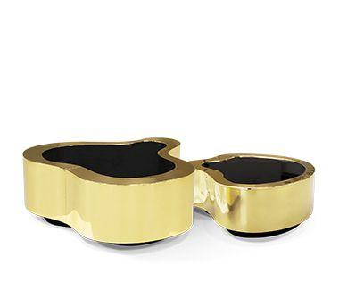 Striking Wave Polished Brass Center Table by Boca do Lobo