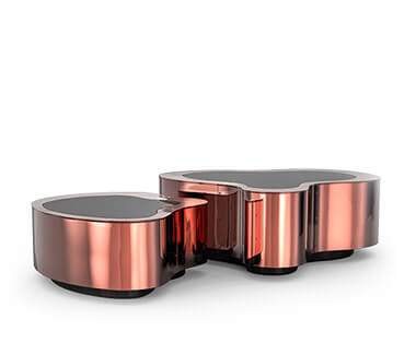 Striking Wave Polished Copper Center Table by Boca do Lobo