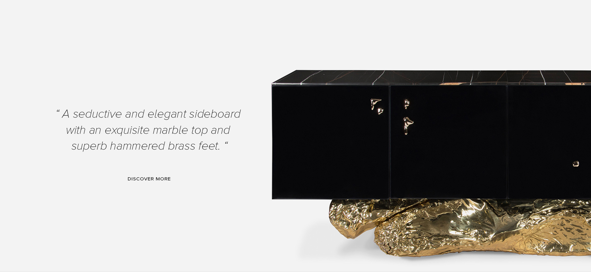 «A Seductive And Elegant Sideboard With An Exquisite Marble Top And Superb  Hammered Brass Details»
