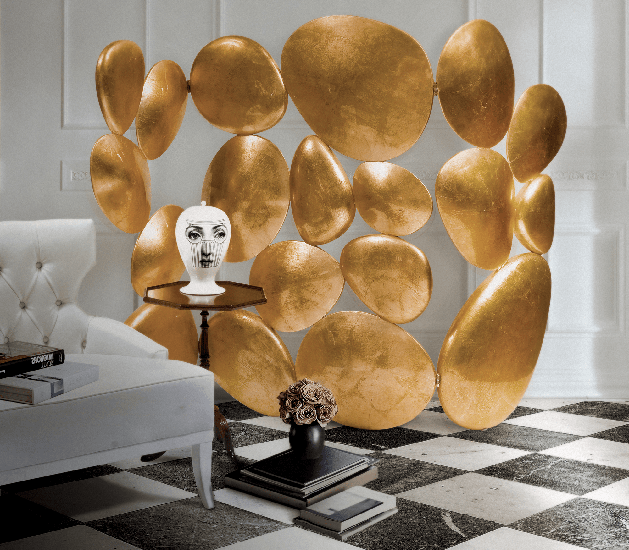 Gold Folding Screen by Boca do Lobo