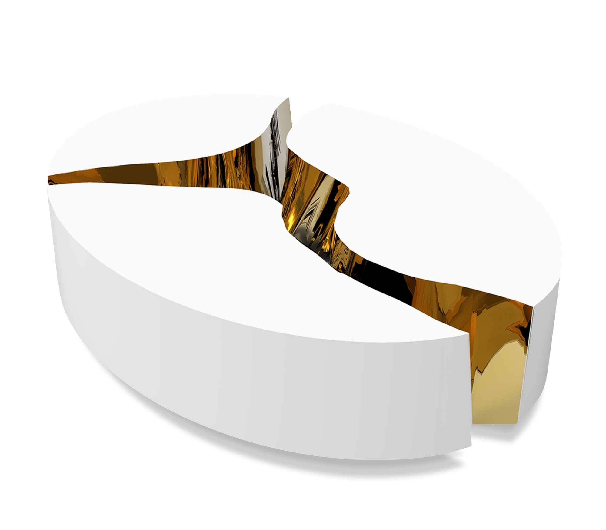 Lapiaz Oval White Center Table by Boca do Lobo