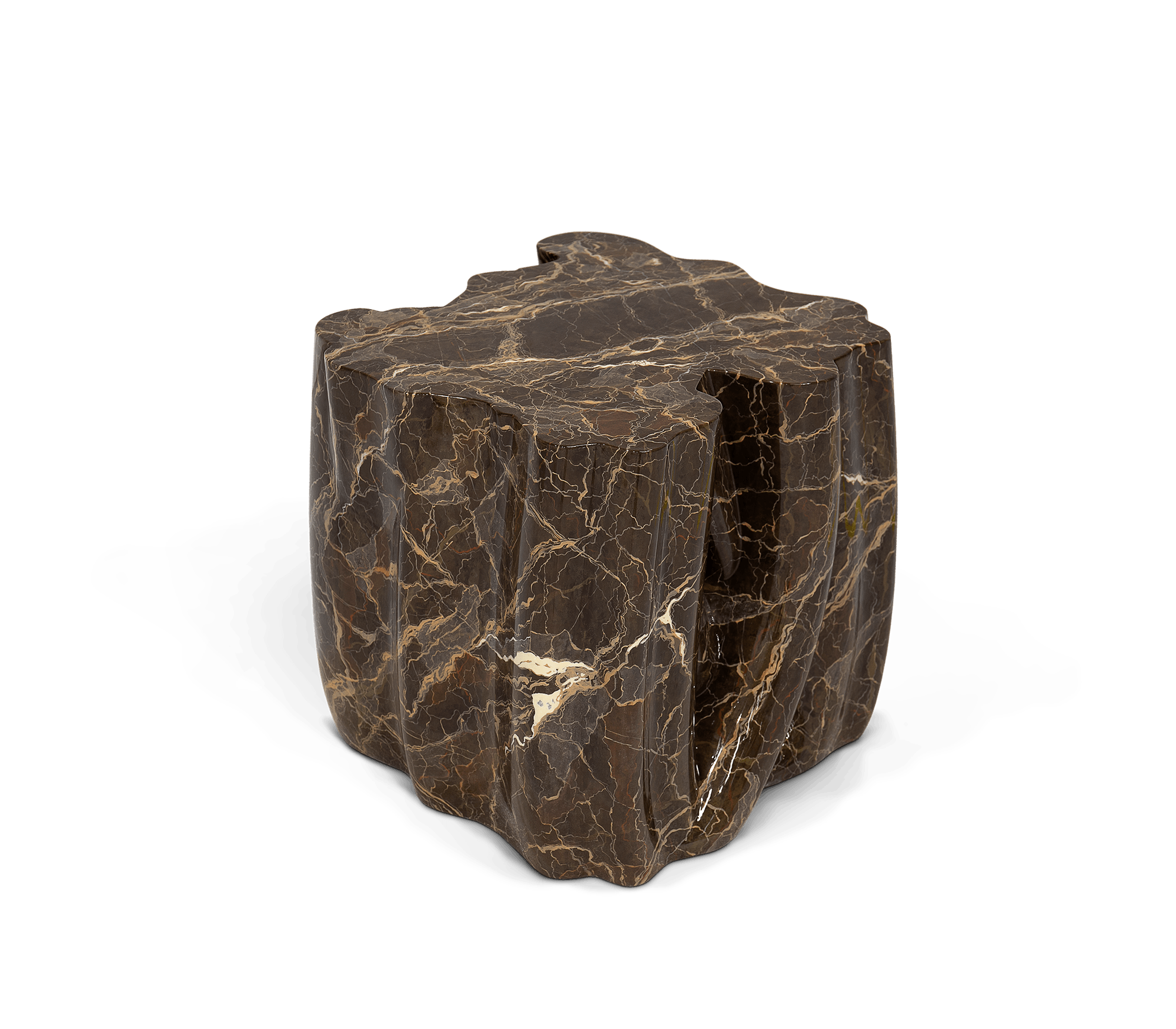 Monochrome Brown Faux-Marble Side Table by Boca do Lobo