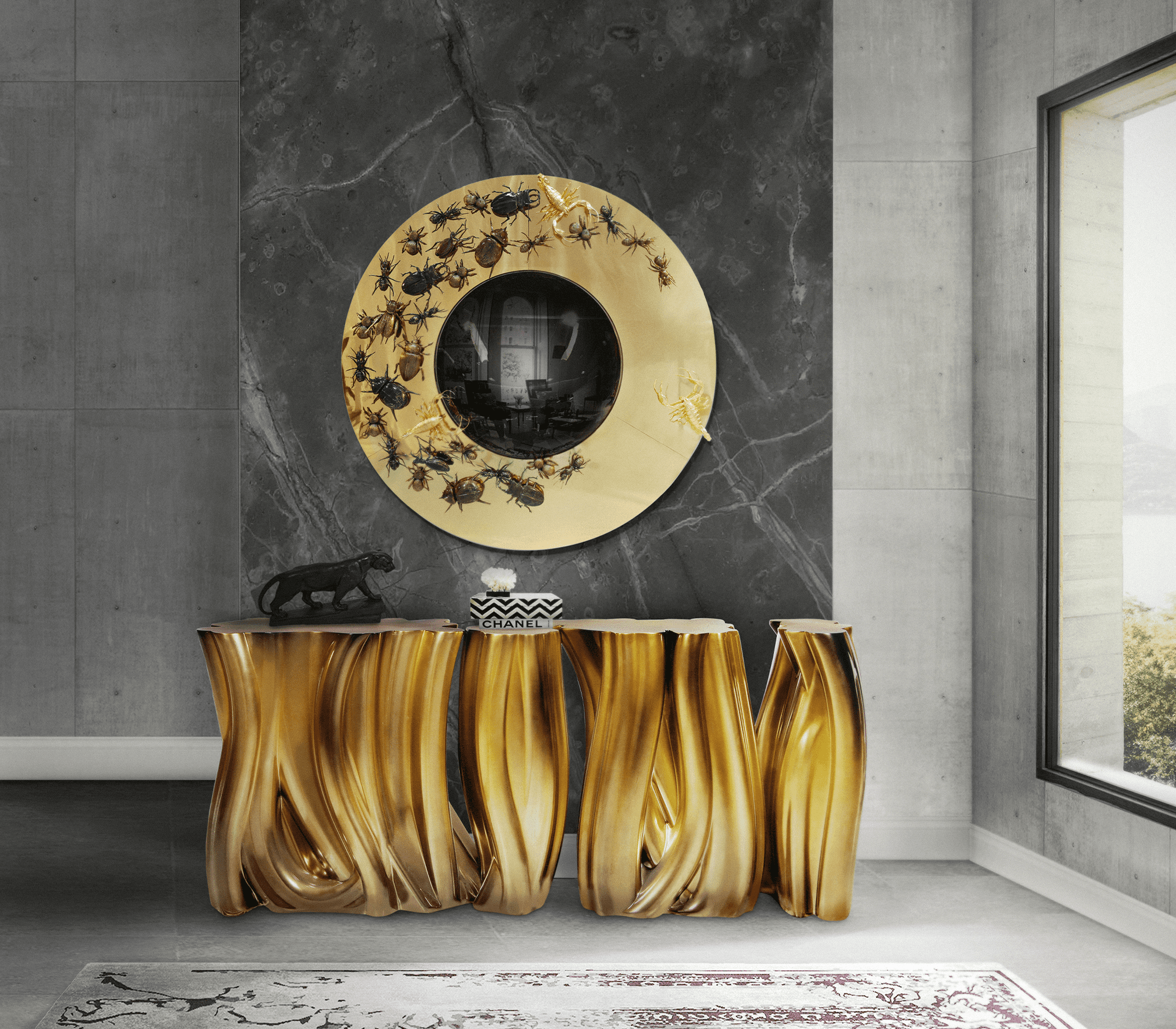 Monochrome Gold Sideboard by Boca do Lobo
