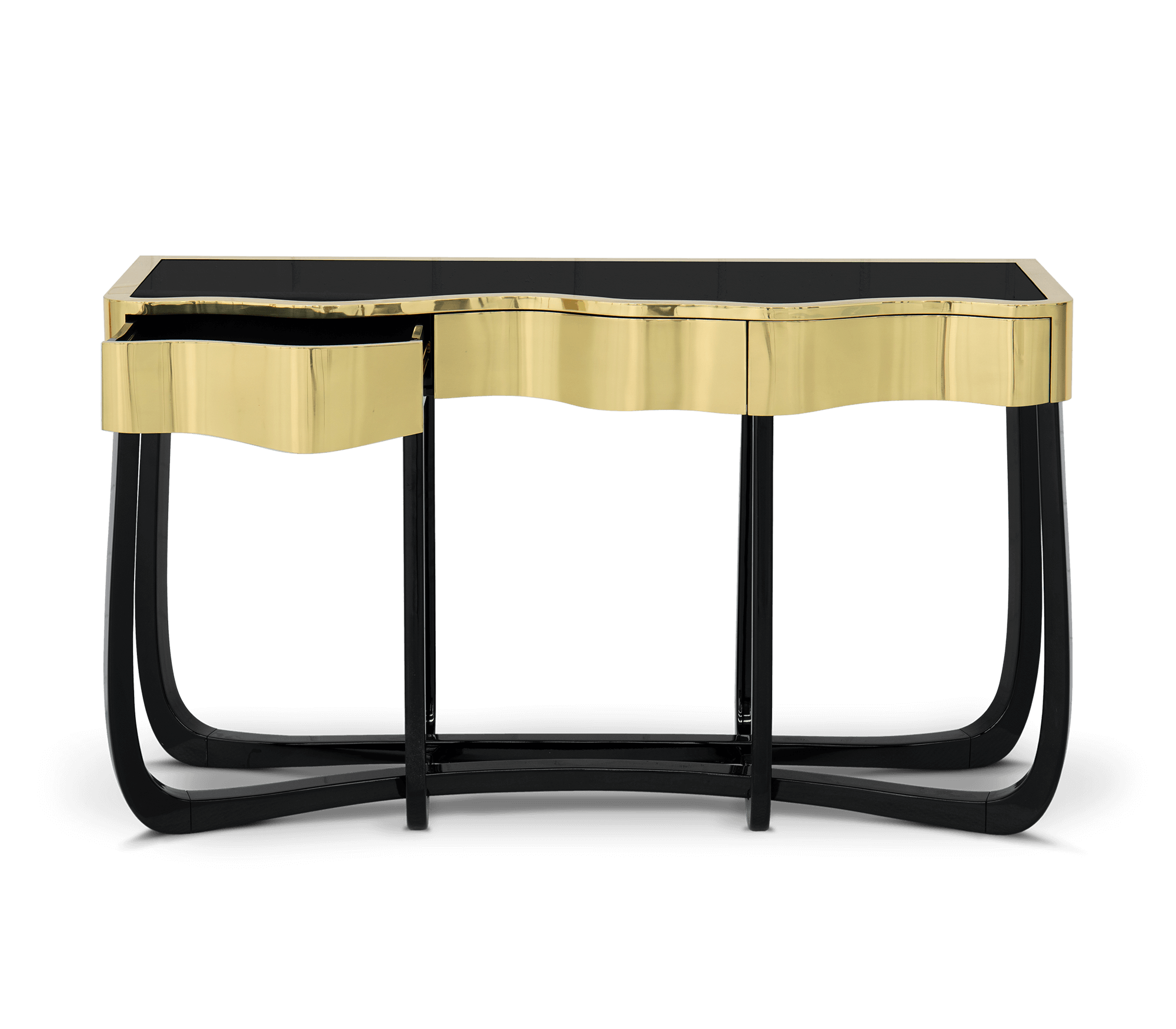 sinuous gold console by Boca do Lobo